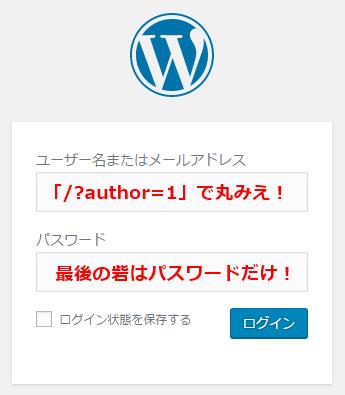 WordPressのログインID丸見え